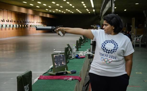IND: India's Pistol Shooter Rahi Sarnobat Practices At Balwedi Stadium
