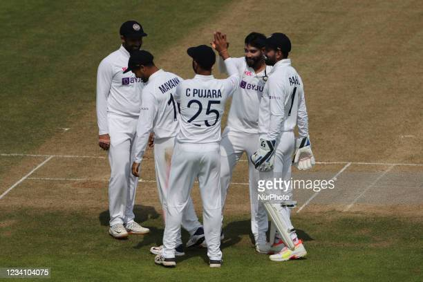 India's players celebrate Washington Sundar's dismissal during the Tour Match match between County Select XI and India at Emirates Riverside, Chester...