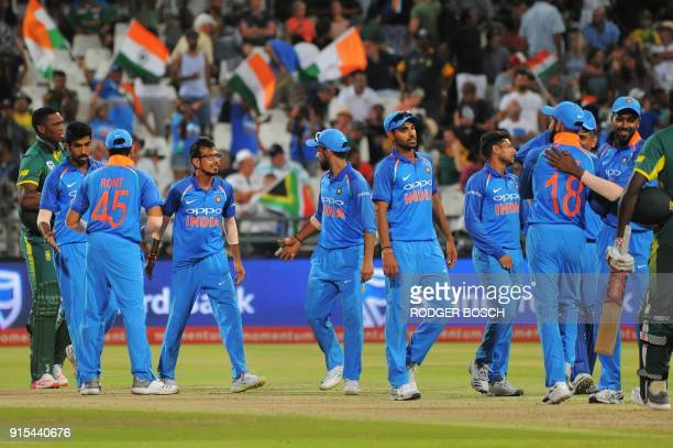 India's players celebrate winning the One Day International cricket match between India and South Africa at Newlands Stadium on February 7 in Cape...