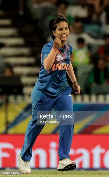 India's Poonam Yadav celebrates taking a wicket during the Twenty20 women's World Cup cricket match between India and Bangladesh in Perth on February...