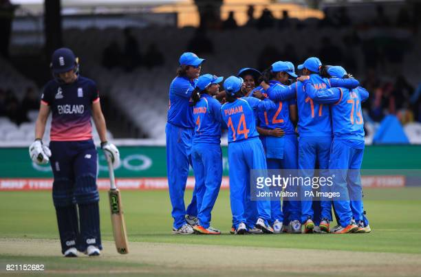 India's Poonam Yadav celebrates the wicket of England's Heather Knight with teammates during the ICC Women's World Cup Final at Lord's London