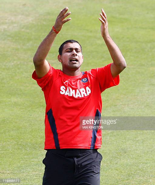 India's Praveen Kumar takes part on July 19, 2011 in a practice session at Lord's Cricket Ground in London. England is due to play India in the first...