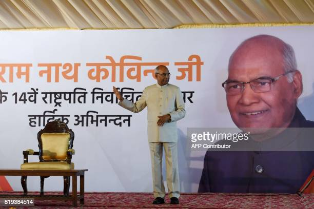 India's President elect Ram Nath Kovind gestures during a ceremony after his election in New Delhi on July 20 2017 Kovind was elected India's new...