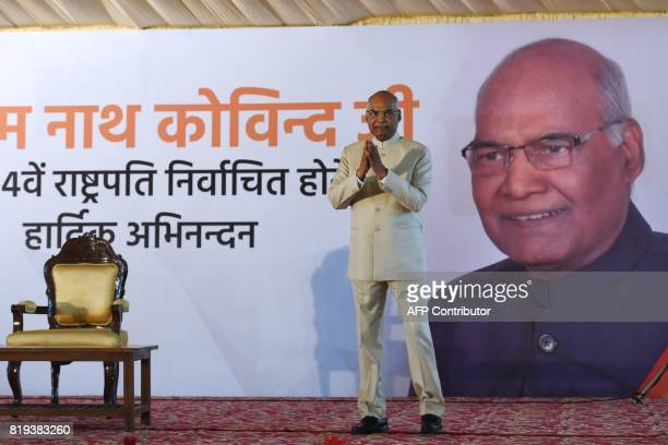 India's President elect Ram Nath Kovind greets people during a ceremony after his election in New Delhi on July 20 2017 Kovind was elected India's...
