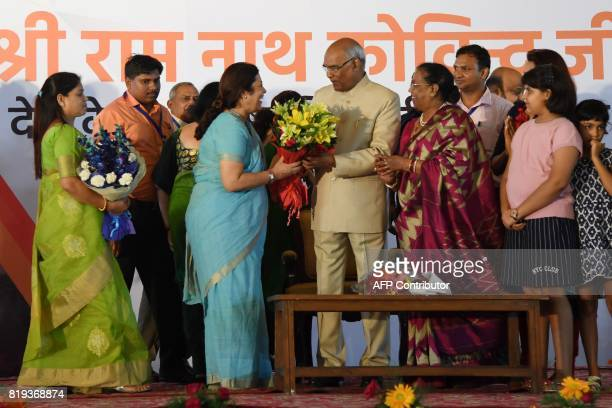 India's President elect Ram Nath Kovind is greeted during a ceremony after his election in New Delhi on July 20 2017 Kovind was elected India's new...