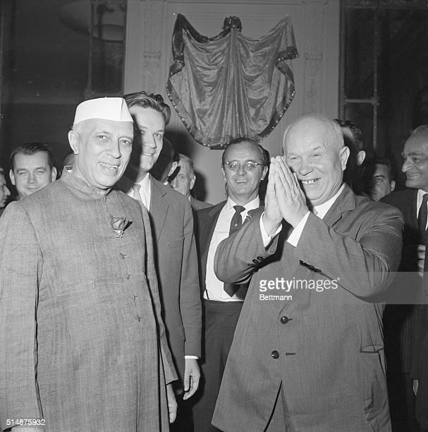 India's Prime Minister Jawarhalal Nehru talks with Soviet Premier Nikita Krushchev in New York.
