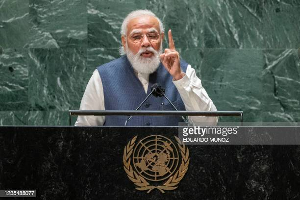 India's Prime Minister Narendra Modi addresses the 76th session of the United Nations General Assembly at UN headquarters on September 25, 2021 in...