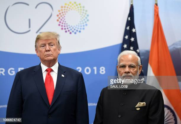India's Prime Minister Narendra Modi and US President Donald Trump during a meeting in the sidelines of the G20 Leaders' Summit in Buenos Aires on...
