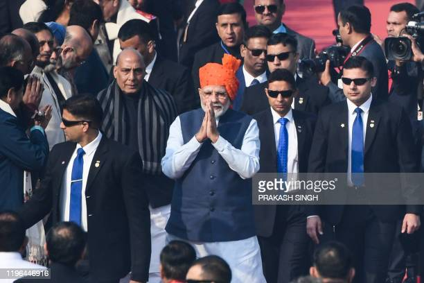 India's Prime Minister Narendra Modi arrives to attend the Republic Day parade in New Delhi on January 26 2020 Huge crowds gathered for India's...