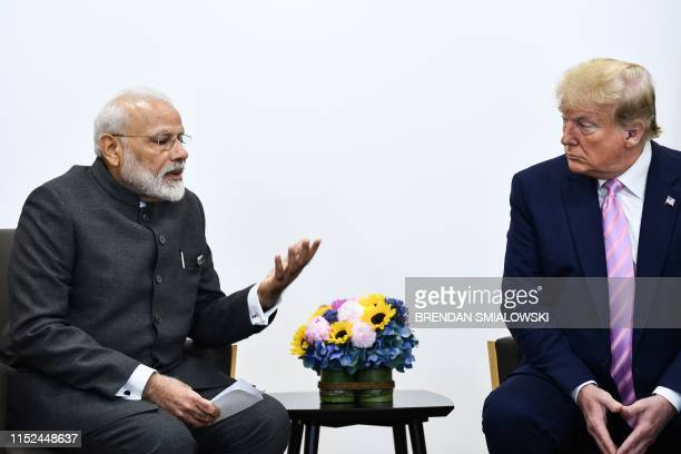 India's Prime Minister Narendra Modi attends a meeting with US President Donald Trump during the G20 Osaka Summit in Osaka on June 28 2019