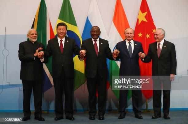 India's Prime Minister Narendra Modi, China's President Xi Jinping, South Africa's President Cyril Ramaphosa, Russia's President Vladimir Putin and...