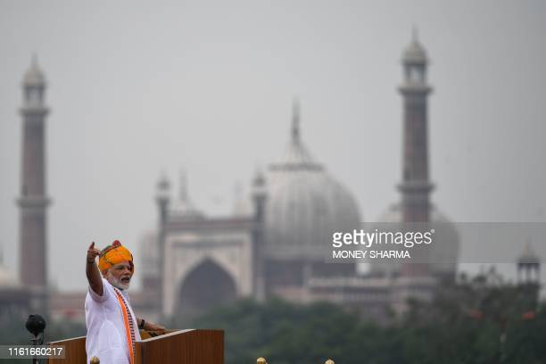 India's Prime Minister Narendra Modi delivers a speech to the nation during a ceremony to celebrate country's 73rd Independence Day, which marks the...