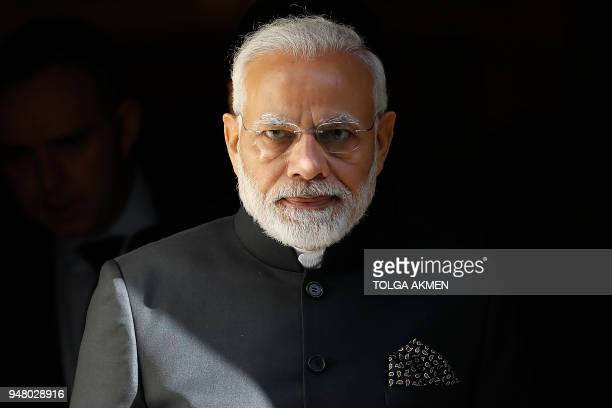 India's Prime Minister Narendra Modi leaves from 10 Downing Street in central London on April 18 after attending a bilateral meeting with Britain's...
