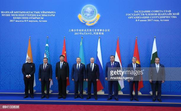 India's Prime Minister Narendra Modi Uzbekistan's President Shavkat Mirziyoyev China's President Xi Jinping Kazakhstan's President Nursultan...
