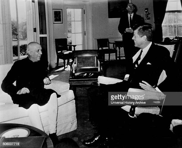 India's Prime Minister Nehru talks with President John F Kennedy at the White House in Washington on November 7 1961