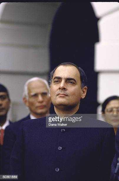 India's Prime Minister Rajiv Gandhi participating in ceremony at the White House