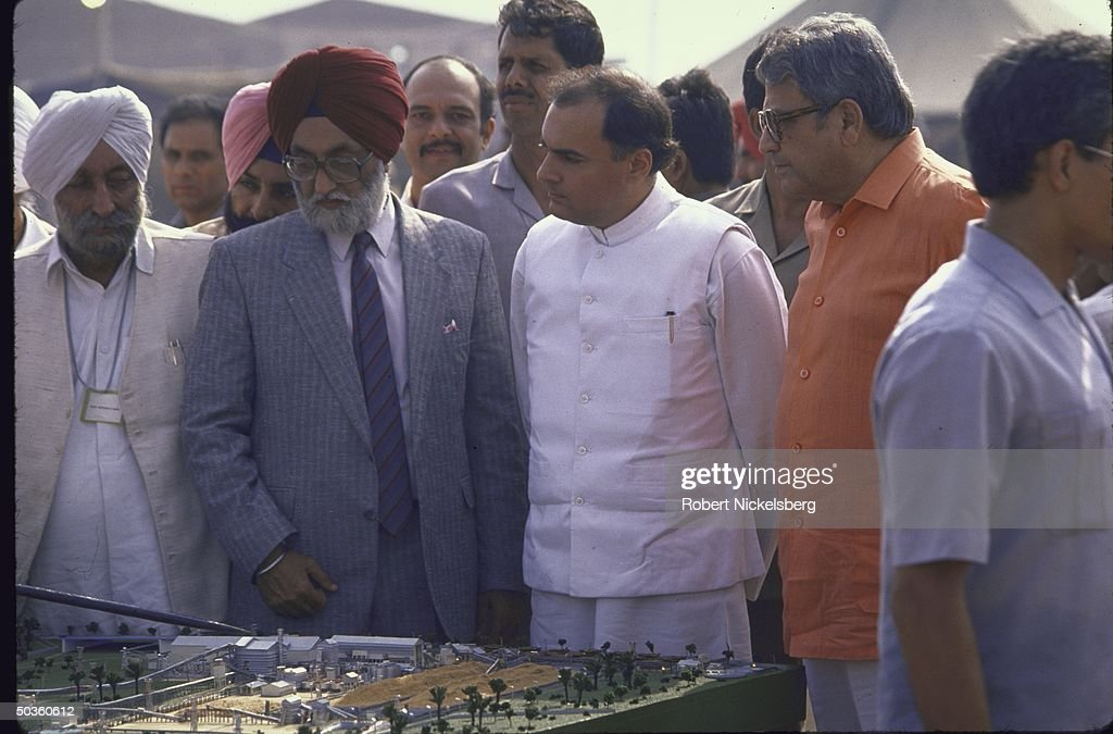 India`s Prime Minister Rajiv Ganhdi attending stone laying ceremony for new paper mill being built by Punjab Agro Newsprints Ltd