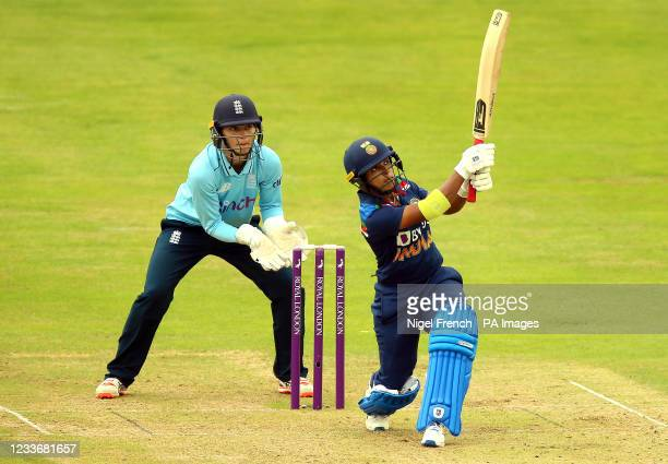 India's Punam Raut hits a boundary during the Women's One-Day International match at the Bristol County Ground. Picture date: Sunday June 27, 2021.