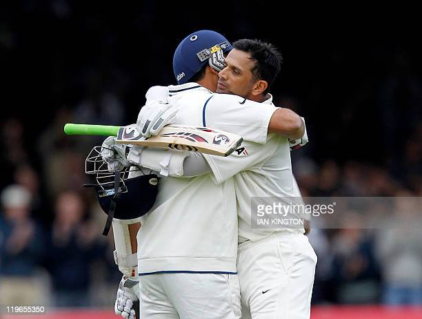 India's Rahul Dravid is congratulated by India's Zaheer Khan after he reaches 100 runs not out against England during Day 3 of the first test match...