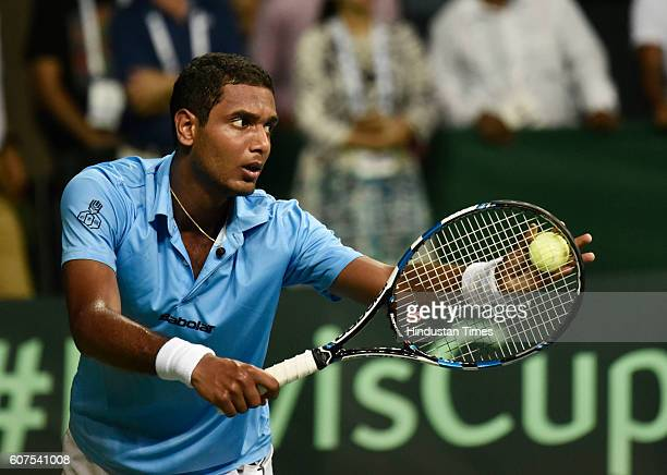 India's Ramkumar Ramanathan in action against Spain's David Ferrer during Davis Cup Match between India and Spain at DLTA on September 18 2016 in New...