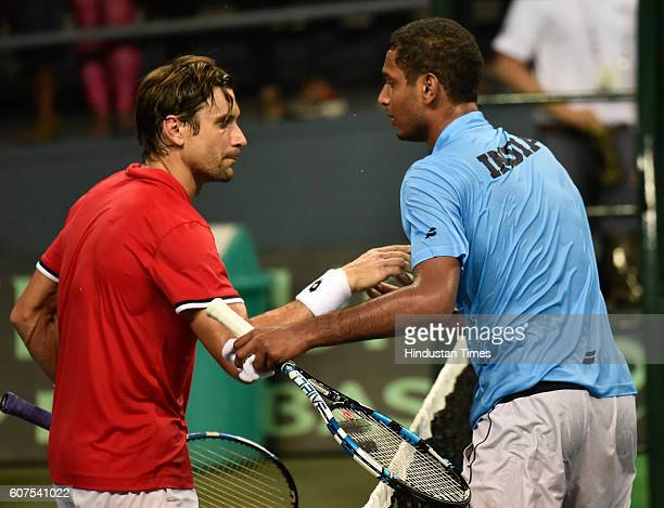 India's Ramkumar Ramanathan wishes Spain's David Ferrer after the match during Davis Cup Match between India and Spain at DLTA on September 18 2016...