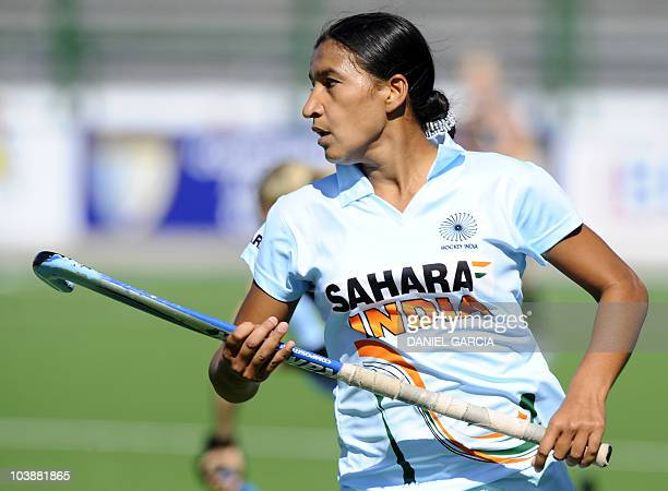 India's Rani Rampal plays against New Zealand during the field hockey Group A match of the Women's World Cup 2010 in Rosario Argentina on September 7...