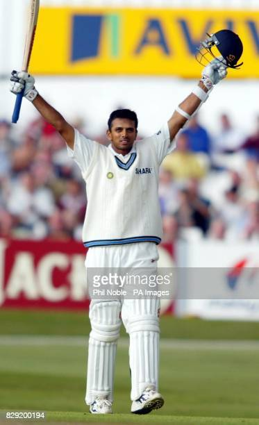 India's Raul Dravid celebrates after reaching his century during the first day of the Third npower Test match between England and India at Headingley...