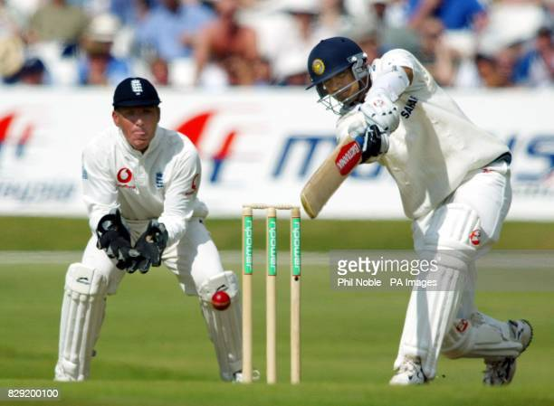 India's Raul Dravid drives off the bowling of Ashley Giles during the first day of the third NPower Test between England and India at Headingley in...