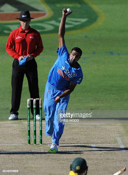 India's Ravi Ashwin bowls during the oneday international cricket match between India and Australia in Perth on January 12 2016 AFP PHOTO / Greg WOOD...