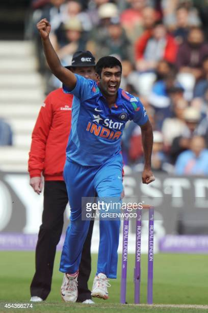 India's Ravi Ashwin celebrates the wicket of England's Ben Stokes during the third oneday international cricket match between England and India at...
