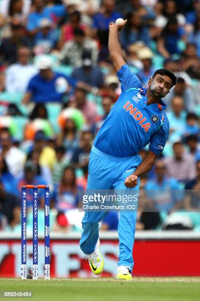 India's Ravichandran Ashwin bowls during the ICC Champions Trophy Warmup match between India and New Zealand at The Kia Oval on May 28 2017 in London...