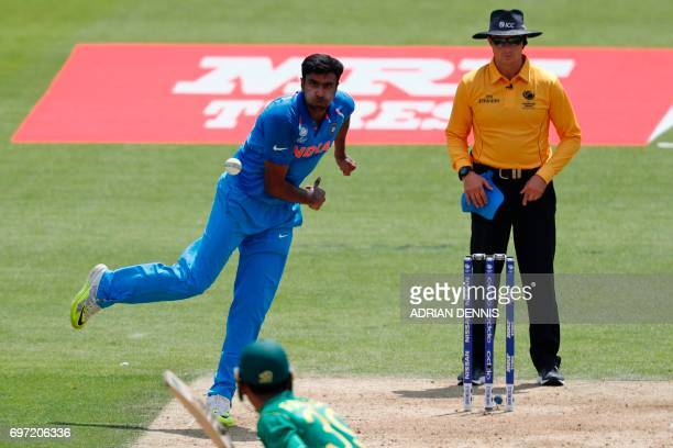 India's Ravichandran Ashwin bowls during the ICC Champions Trophy final cricket match between India and Pakistan at The Oval in London on June 18...