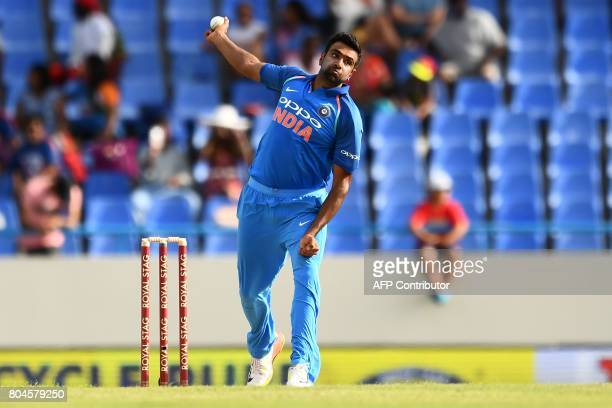 India's Ravichandran Ashwin delivers a ball during the third One Day International match between West Indies and India at the Sir Vivian Richards...