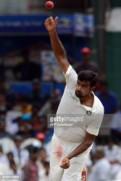 India's Ravichandran Ashwin delivers the ball during the third day of the second Test cricket match between Sri Lanka and India at the Sinhalese...