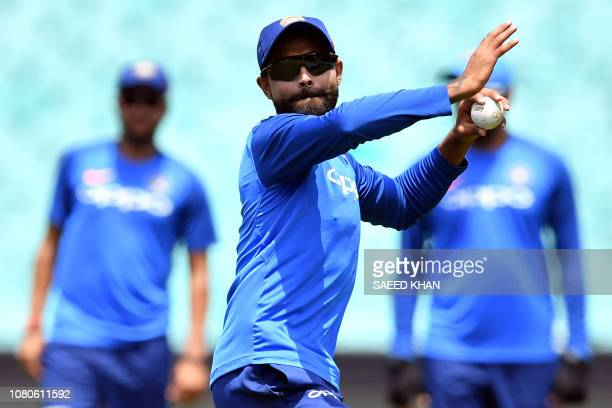 TOPSHOT India's Ravindra Jadeja attends a team training session at the Sydney Cricket Ground in Sydney on January 11 ahead of a oneday international...