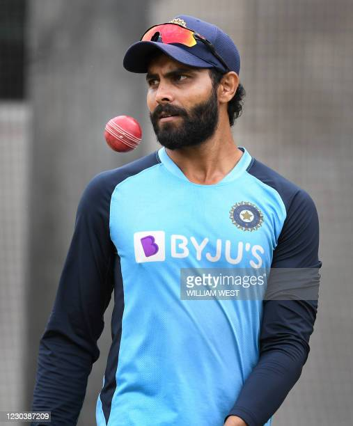 India's Ravindra Jadeja looks on during a training session at the MCG in Melbourne on January 2 ahead of the third cricket Test match starting in...