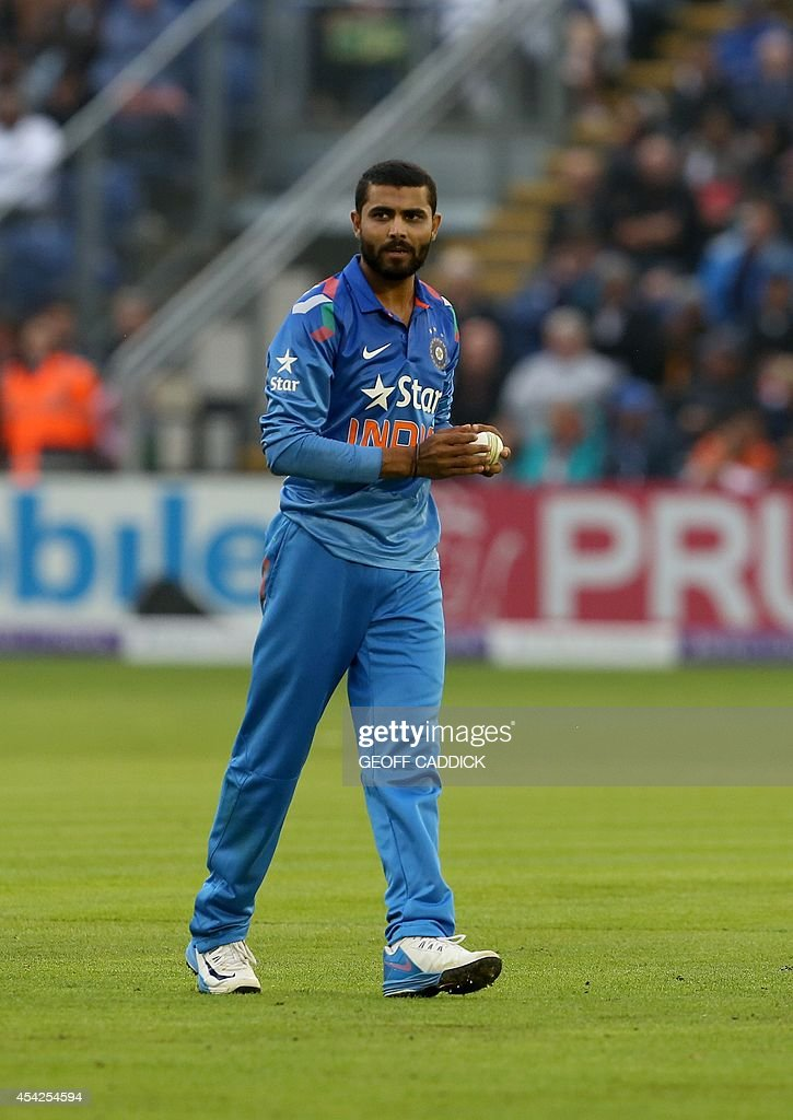 India's Ravindra Jadeja prepares to bowl in the second one-day international cricket match between England and India at the Glamorgan County Cricket Ground in Cardiff, Wales on August 27, 2014. India won by 133 runs.