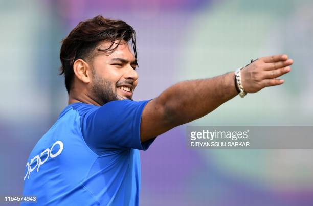 TOPSHOT India's Rishabh Pant gestures as he takes part in a training session at Old Trafford in Manchester northwest England on July 8 ahead of their...