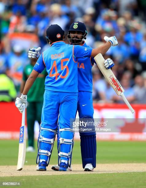 India's Rohit Sharma and Virat Kohli celebrate during the ICC Champions Trophy semifinal match at Edgbaston Birmingham