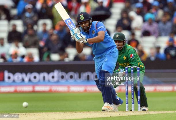 India's Rohit Sharma bats during the ICC Champions trophy match between India and Pakistan at Edgbaston in Birmingham on June 4 2017 / AFP PHOTO /...