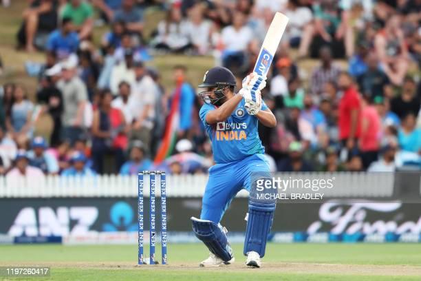Indias Rohit Sharma bats during the third Twenty20 cricket match between New Zealand and India at Seddon Park in Hamilton on January 29, 2020.