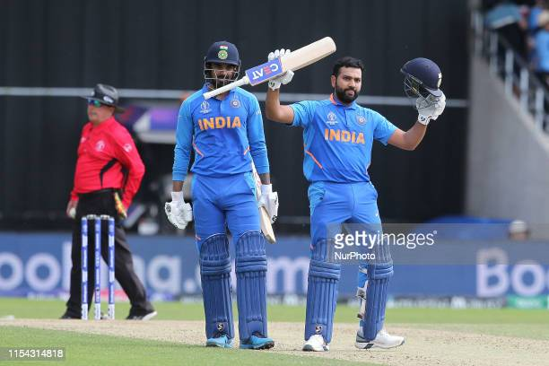 India's Rohit Sharma celebrates after scoring 100 during the ICC Cricket World Cup 2019 match between India and Sri Lanka at Emerald Headingley,...