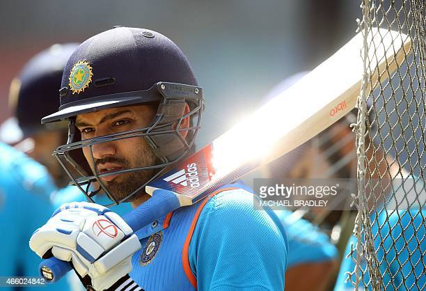 India's Rohit Sharma gets ready to bat during a training session ahead of their 2015 Cricket World Cup Group B match against Zimbabwe in Auckland on...