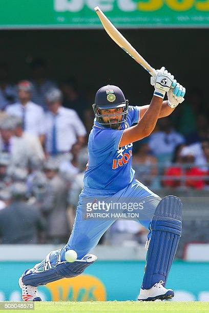 India's Rohit Sharma hits a shot during the oneday international cricket match between India and Australia in Brisbane on January 15 2016 AFP PHOTO /...