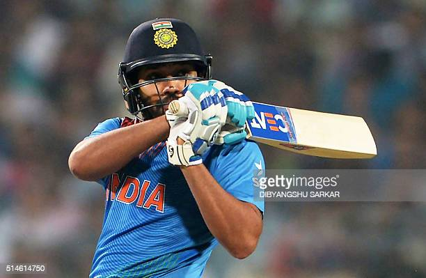 India's Rohit Sharma plays a shot during a warmup match between India and West Indies for the World T20 cricket tournament at The Eden Gardens...