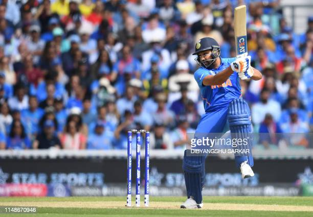 India's Rohit Sharma plays a shot during the 2019 Cricket World Cup group stage match between India and Australia at The Oval in London on June 9...