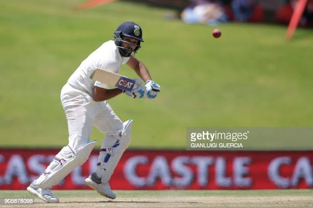 India's Rohit Sharma plays a shot during the fifth day of the second Test cricket match between South Africa and India at Supersport cricket ground...