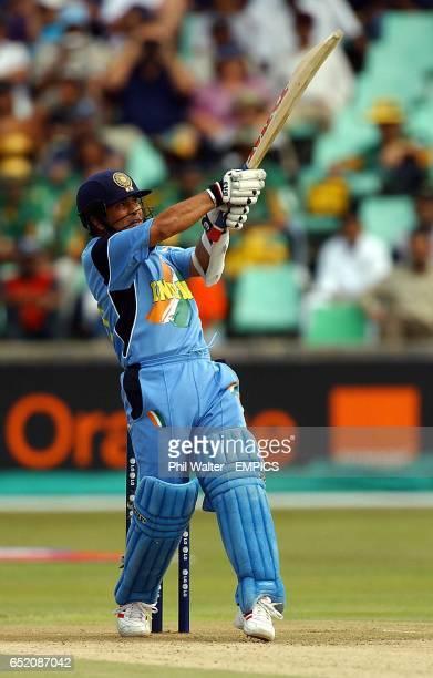 India's Sachin Tendlukar hits a six against England
