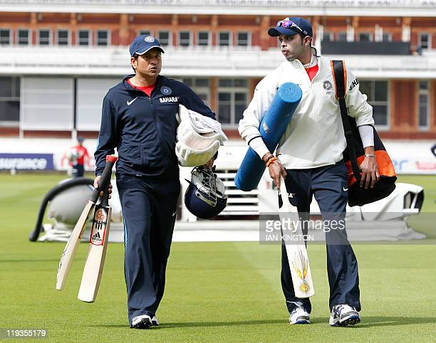 India's Sachin Tendulkar and India's Sreesanth arrive on July 19, 2011 for a practice session at Lord's Cricket Ground in London. England is due to...
