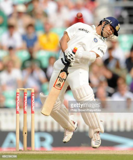 India's Sachin Tendulkar avoids a ball bowled by England's James Anderson during the 4th Test match at the Oval cricket ground in London on August...